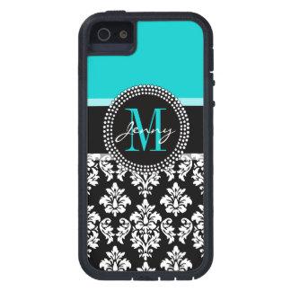 Girly Aqua Black Damask Your Monogram Name iPhone SE/5/5s Case