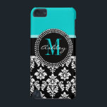 "Girly Aqua Black Damask Your Monogram Name iPod Touch (5th Generation) Case<br><div class=""desc"">Girly Black and White Damask Pattern with Monogram Initial Aqua. Personalize with your name and monogram. Damask Gallery&#169; Other colors and styles available in our shop at www.zazzle.com/DamaskGallery*</div>"