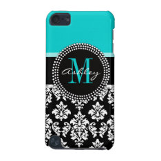 Girly Aqua Black Damask Your Monogram Name Ipod Touch (5th Generation) Case at Zazzle