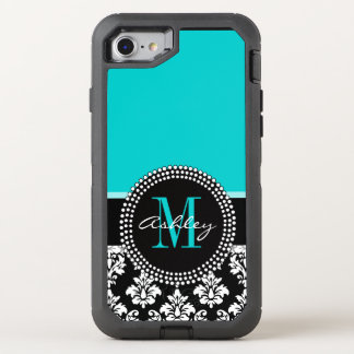 Girly Aqua Black Damask Your Monogram Name OtterBox Defender iPhone 7 Case