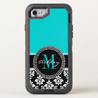 Girly Aqua Black Damask Your Monogram Name OtterBox Defender iPhone 7 Case