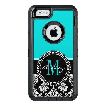 Girly Aqua Black Damask Your Monogram Name Otterbox Defender Iphone Case by DamaskGallery at Zazzle