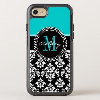 Girly Aqua Black Damask Your Monogram Name OtterBox Symmetry iPhone 7 Case