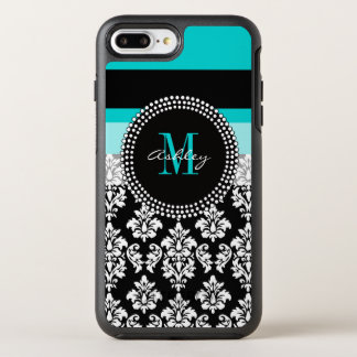 Girly Aqua Black Damask Your Monogram Name OtterBox Symmetry iPhone 7 Plus Case