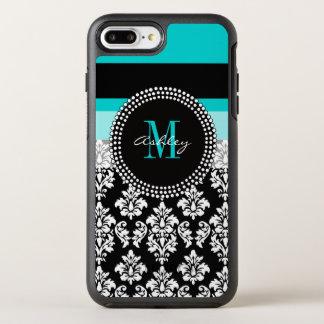 Girly Aqua Black Damask Your Monogram Name OtterBox Symmetry iPhone 8 Plus/7 Plus Case