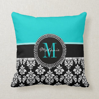 Girly Aqua Black Damask Your Monogram Name Pillow