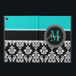 """Girly Aqua Black Damask Your Monogram Name Powis iPad Air 2 Case<br><div class=""""desc"""">Girly Black and White Damask Pattern with Monogram Initial Aqua. Personalize with your name and monogram. Damask Gallery&#169; Other colors and styles available in our shop at www.zazzle.com/DamaskGallery*</div>"""