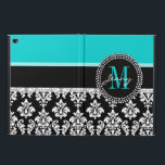 "Girly Aqua Black Damask Your Monogram Name Powis iPad Air 2 Case<br><div class=""desc"">Girly Black and White Damask Pattern with Monogram Initial Aqua. Personalize with your name and monogram. Damask Gallery&#169; Other colors and styles available in our shop at www.zazzle.com/DamaskGallery*</div>"