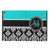 Girly Aqua Black Damask Your Monogram Name Powis iPad Air 2 Case