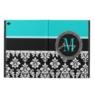Girly Aqua Black Damask Your Monogram Name Powis iPad Air 2 Case