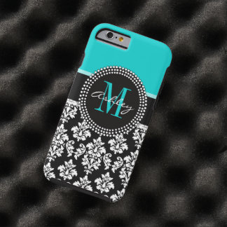 Girly Aqua Black Damask Your Monogram Name Tough iPhone 6 Case