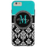 Girly Aqua Black Damask Your Monogram Name Tough Iphone 6 Plus Case at Zazzle