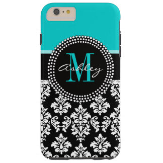 Girly Aqua Black Damask Your Monogram Name Tough iPhone 6 Plus Case