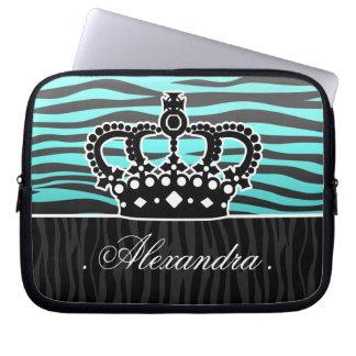 Girly aqua blue and black zebra laptop sleeves
