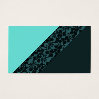 Girly Aqua blue Turquoise Color Block Flower Lace Business Card