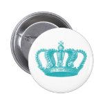 Girly Aqua Blue Vintage Crown 2 Inch Round Button