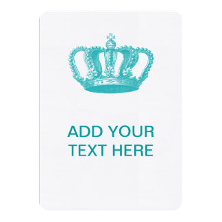 Girly Aqua Blue Vintage Crown 5x7 Paper Invitation Card