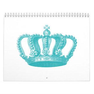 Girly Aqua Blue Vintage Crown Calendar