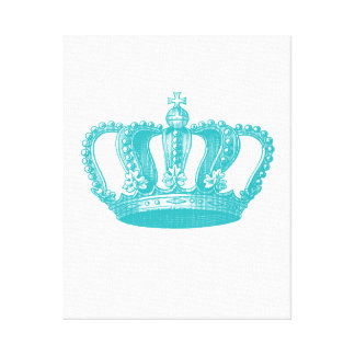 Girly Aqua Blue Vintage Crown Canvas Print