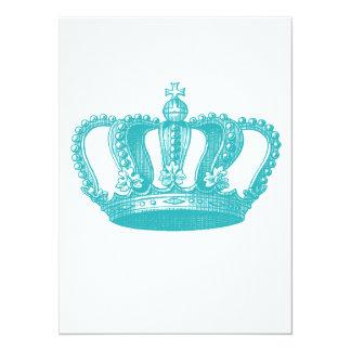 Girly Aqua Blue Vintage Crown Card