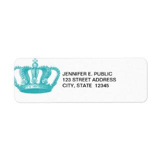 Girly Aqua Blue Vintage Crown Label