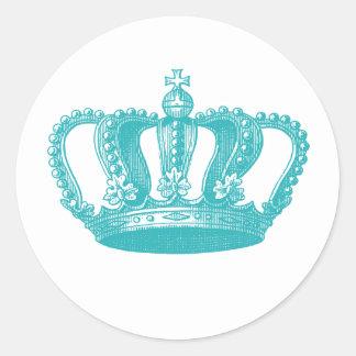 Girly Aqua Blue Vintage Crown Round Sticker