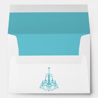 Girly Aqua Chandelier Envelope
