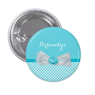 Girly Aqua Gingham Cute Pearls Rose Bow With Name Pins