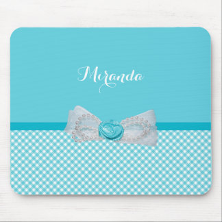 Girly Aqua Gingham Cute Pearls Rose Bow With Name Mouse Pad