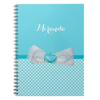 Girly Aqua Gingham Cute Pearls Rose Bow With Name Note Books