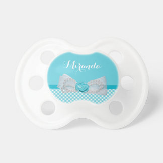 Girly Aqua Gingham Cute Pearls Rose Bow With Name Baby Pacifiers