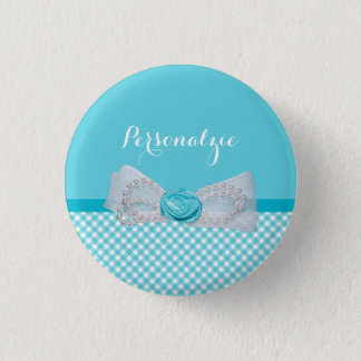 Girly Aqua Gingham Cute Pearls Rose Bow With Name Pinback Button