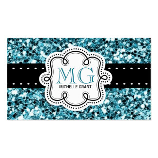 Girly Aqua Glitter Look Ladies Any Occupation Business Card