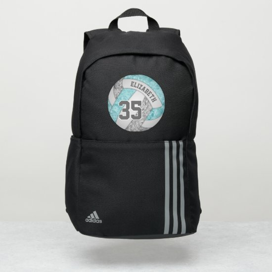 girly aqua gray white sporty volleyball adidas backpack