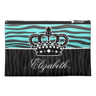 Girly aqua light blue and black zebra travel accessories bags