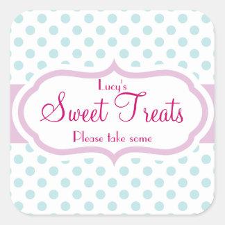 Girly Aqua & Pink Polka Dot Pattern Cute Stickers