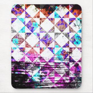 Girly Aqua Pink White Diamond Checkerboard Grunge Mouse Pad