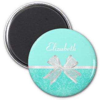 Girly Aqua Turquoise Damask White Ribbon With Name 2 Inch Round Magnet