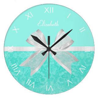 Girly Aqua Turquoise Damask White Ribbon With Name Clocks