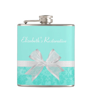 Girly Aqua Turquoise Damask White Ribbon With Name Hip Flask