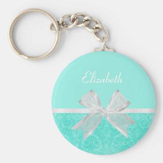 Girly Aqua Turquoise Damask White Ribbon With Name Keychain