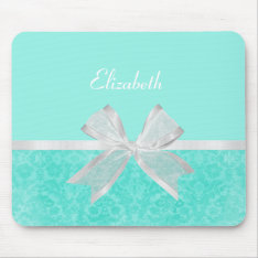 Girly Aqua Turquoise Damask White Ribbon With Name Mouse Pad at Zazzle