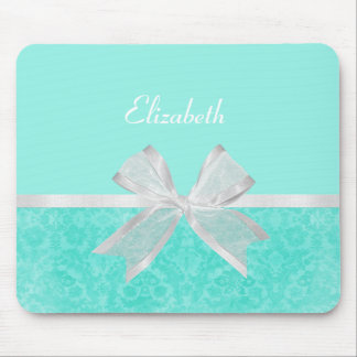 Girly Aqua Turquoise Damask White Ribbon With Name Mouse Pad