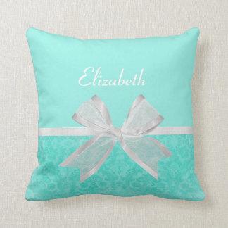 Girly Aqua Turquoise Damask White Ribbon With Name Pillows