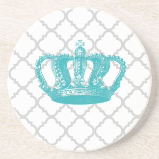 GIRLY AQUA VINTAGE CROWN GREY QUATREFOIL PATTERN COASTERS