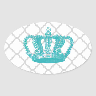 GIRLY AQUA VINTAGE CROWN GREY QUATREFOIL PATTERN OVAL STICKER