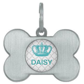 GIRLY AQUA VINTAGE CROWN GREY QUATREFOIL PATTERN PET ID TAG