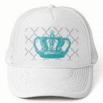 GIRLY AQUA VINTAGE CROWN GREY QUATREFOIL PATTERN TRUCKER HAT