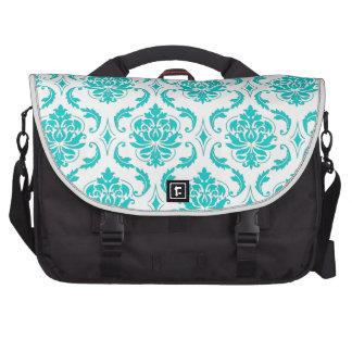 Girly Aqua Vintage Damask Pattern Commuter Bags