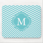 "Girly Aqua White Chevron Stripes Monogram Mouse Pad<br><div class=""desc"">Girly Aqua White Chevron Stripes Monogram</div>"